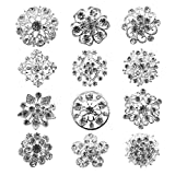Tooky 12PCS mix set Crystal Button spille sciarpe fibbia Floriated spilla pin strass corpetto bouquet kit lotto all' ingrosso, placcato argento, colore: silver, cod. B-002