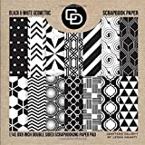 Black & White Geometric Scrapbook Paper (14) 8x8 Inch Double Sided Scrapbooking Paper Pad: Crafters Delight By Leska Hamaty