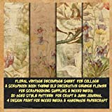 floral vintage decoupage sheet for collage &scrapbook book theme old decorative grunge flower for scrapbooking supplies &mixed media 20 aged style ... & handmade papercraft: patterened for craft